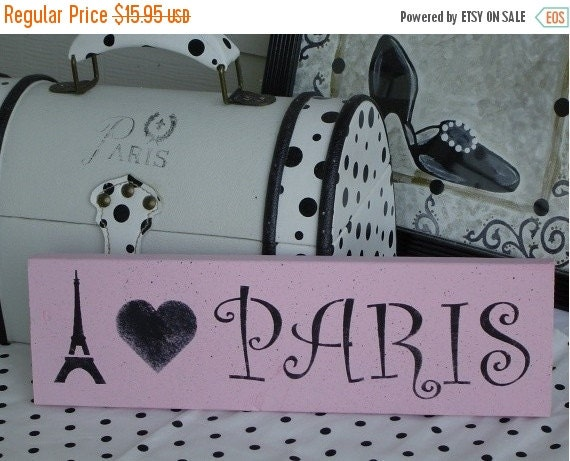 Fall Sale I heart Love Paris PINK black SiGN Wall Art French Chic Decor / Paris Apartment / Ready To Ship