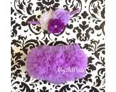 Baby Bloomer and Headband Set- Bloomers headband, Ruffle Bum Baby Bloomer, Easter Bloomer, lavender ruffle bum bloomer ,newborn bloomers