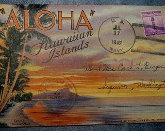Vintage 1942 Hawaii Postcard Folio Navy Postmark Teich
