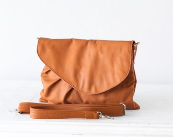 Brown leather clutch, oversized clutch envelope clutch crossbody bag purse crossover  large clutch - Erato clutch