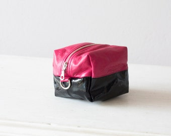 Pink and black vinyl leather makeup bag, cosmetic case accessory bag utility bag  jewelry case toiletry -Cube
