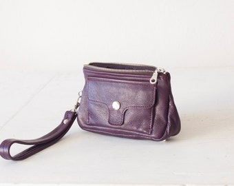 Wristlet wallet purple leather,phone wallet case,womens wallet,phone case leather,clutch wallet - Thalia Wallet