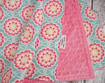 Aqua and Pink Baby Blanket, Baby Girl Minky Baby Blanket, Flower Pink Baby Blanket