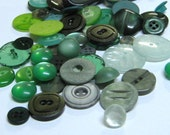green buttons assorted sizes craft buttons scrap booking buttons big tiny and in between bright pale medium green novelty button