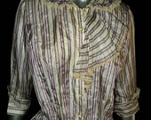 Antique Victorian Turn of the Century Purple Striped Bodice Top with Peplum Crochet Lace Trim Wearable Size Historical 1900
