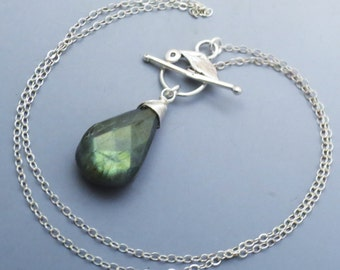 Labradorite Sterling Silver Leaf Toggle Necklace EE Designs