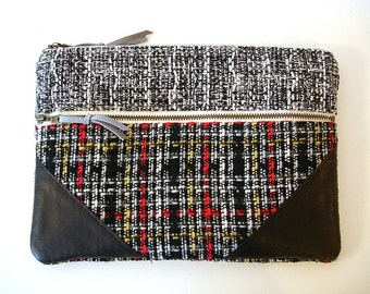 Large Zipper Clutch Black and White Plaid Leather Clutch