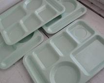 Vintage Tray Melamine Set of 4 Cafeteria Mint Green King Line