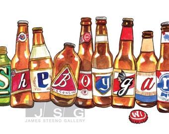 Sheboygan Spelled in Beer Bottles Illustrated Watercolor Art Print by James Steeno