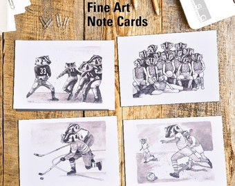 Team of Badgers Note Card Set of 4