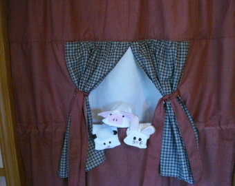 Complete set Doorway Puppet Theater with 3 Sock Puppets;  Pig, Lamb and Rabbit