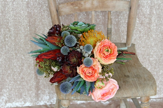 Southwestern Succulents and Cactus Tribal Wedding Bouquet and Boutonniere Set