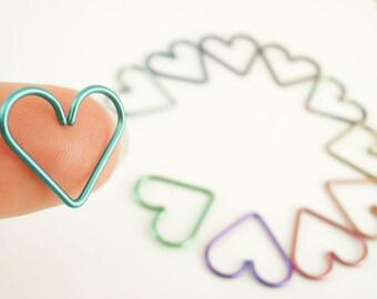1 Heart - 18mm 18 gauge Niobium Heart Piercing - Hypoallergenic - You Pick Color - Cartilage Piercing