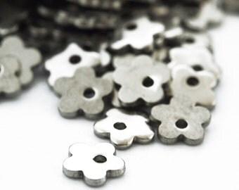 20 Stainless Steel Mini Flower Beads - 6mm X 1mm