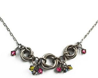 Alexis Titanium, Stainless Steel and Swarovski Crystal Necklace