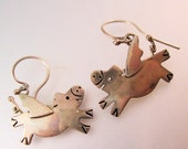 10% OFF SALE FAR Fetched Flying Pig Pigs Earrings Drop Dangle Sterling Silver Signed Vintage Jewelry Jewellery