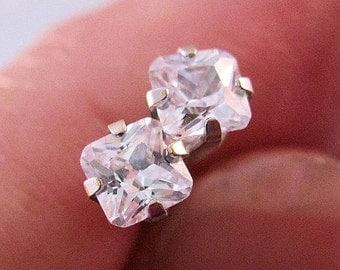 BIGGEST SALE of the Year Vintage 14k WG 1/3 carat Cubic Zirconia Princess Cut Stud Earrings 4mm Fine Jewelry Jewellery