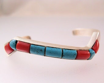 Native American Turquoise & Coral Cuff Bracelet Sterling Silver Small Size Vintage Jewelry Jewellery