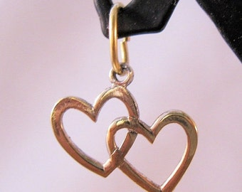 10% OFF SALE DOUBLE Heart Gold Vermeil Sterling Silver Charm Pendant Vintage Jewelry Jewellery