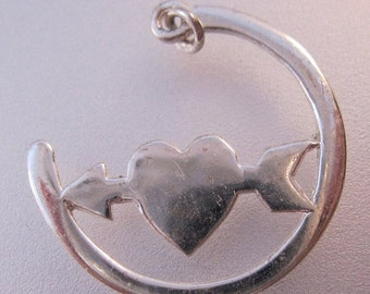 10% OFF SALE Heart & Arrow Sterling Silver Charm Pendant Signed LA Vintage Jewelry Jewellery Facing Left