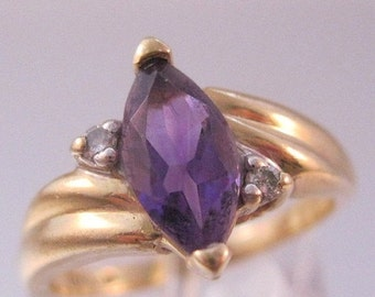 HALLOWEEN SALE Vintage 1ct Marquis Amethyst 10k Yellow Gold Solitaire Ring with Diamond Accents Size 5.75 Fine Jewelry Jewellery