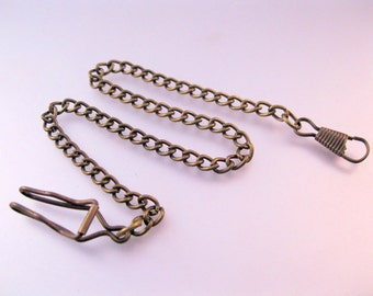 "Vintage Style Pocket Watch Belt Chain Bronzed Metal 13.75"""