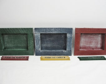 Rustic wooden shadow box frame in green, blue or maroon