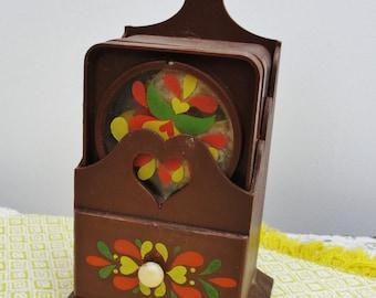 Vintage Pennsylvania Dutch plastic coaster set