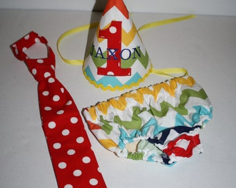 primary colors boys first birthday outfit, boys 1st birthday outfit,  cake smash set, personalized 1st birthday hat, boys diaper cover