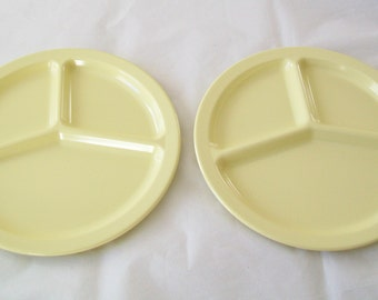 2 Yellow Texas Ware Divided Cafeteria Plates, 1960s, kitchen, melamine