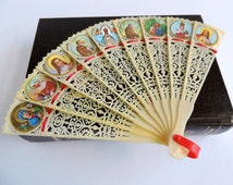 Vintage Religious Icons Hand Held Plastic Fan, Jesus • Mary • Saints, Retro 1970s Asian Accessory, Made in Hong Kong