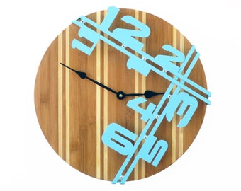 Bamboo Stripe II, Wood Wall Clock, Unique Wall Clock, Modern Wall Clock, Steampunk Wall Clock, Industrial Decor, Wooden Art, Laser Cut, Aqua