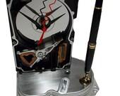 "FREE SHIPPING! Pen Holder Hard Drive Clock. ""Head Crash on the Platter. Poor Data!"