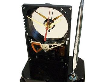 Pen Holder Hard Drive Clock. Cool Office Gift, Teacher Gift, Techie Gift, Business Award.