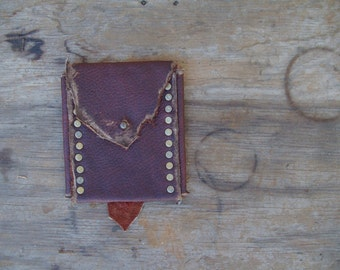 Brick Red Leather Belt Pouch --  leather burning man wasteland weekend tribal steampunk huntress viking renaissance costume apocalyptic
