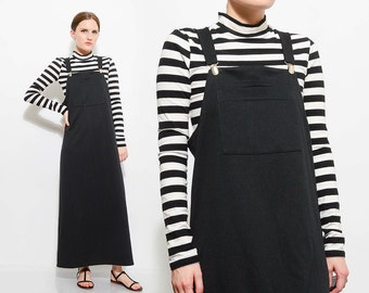 Vintage 90s Black MINIMAL Overall Dress Sleeveless Pinafore Jumper 1990s Goth Grunge Maxi Dress Medium M