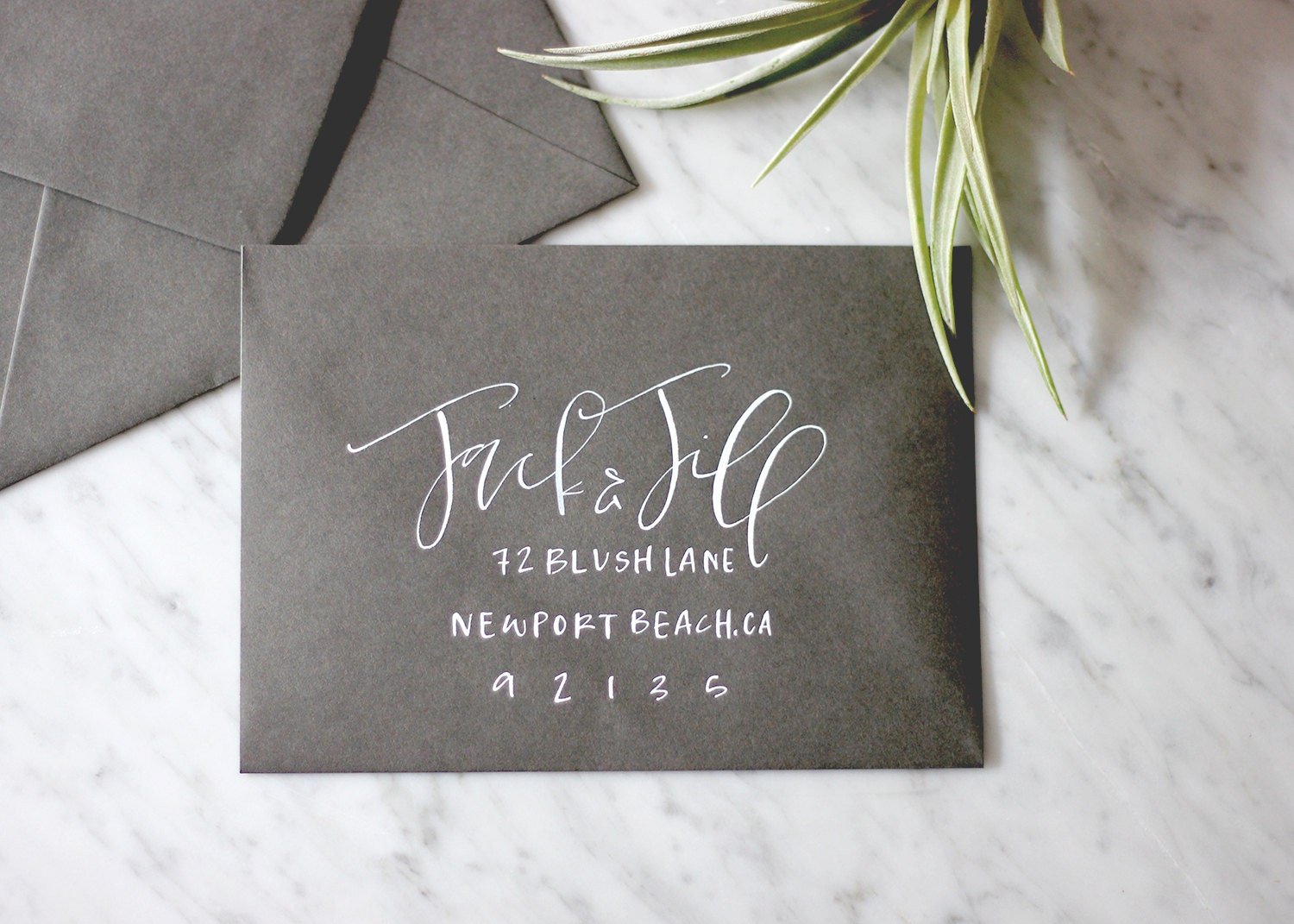 Slate With White Ink Hand Lettered Calligraphy By