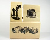 Lot of 3 Graphic Stamps, 1 Telephone, 1 Camera, 1 Trunks