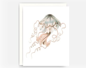 Jelly Fish Note Card, Nautical Greeting Card, Ocean Animals Note Card, Blank Greeting Card, Note Card A2