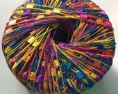 KFI Dazzle Ladder Yarn #117 Purple Pink Blue Yellow Orange Green Knitting Fever Trellis Ribbon Yarn 25 gram 82 yards