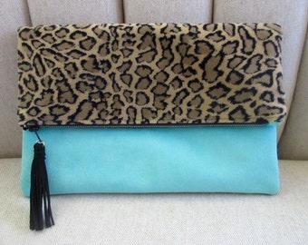 Vintage Velvet Leopard Clutch, Aqua Leather, Zipper
