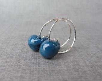 Steel Blue Silver Hoops, Small Blue Earrings, Silver Wire Earrings Blue, Lampwork Earrings, Small Wire Hoops Blue, Sterling Silver Earrings