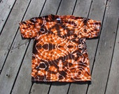 Mandala Tie Dye Tee - Orange & Black (Large) Youth