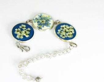 Pressed Flower Bracelet,  Adjustable,  Real Flowers, Silver Plated Brass,  Resin (1964)