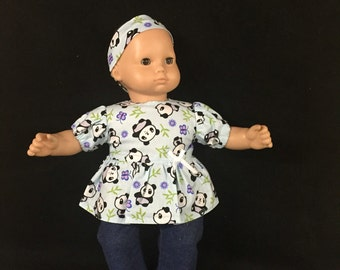 Doll Clothes for Bitty Baby Bitty Twin Girl or Boy or Most Other 15 Inch Dolls Kawaii Panda Bear Shirt Pants and Headband