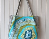 Lantana Shoulder Bag with Green and Aqua QAYG panel and grey faux leather