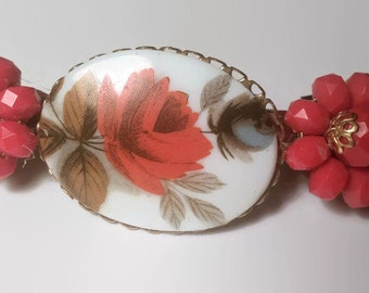 """Vintage Hair Barrette, Upcycled, Recyced, Repurposed, Red White & Blue, Flower, 3"""" French Barrette, Hair Clips, Hair Accessories"""