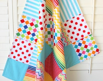 Baby Blanket , Gender Neutral Blanket, Minky Patchwork Blanket, Circus, Carnival, Nursery Decor, Rainbow Unisex Nursery, Rainbow Chevron