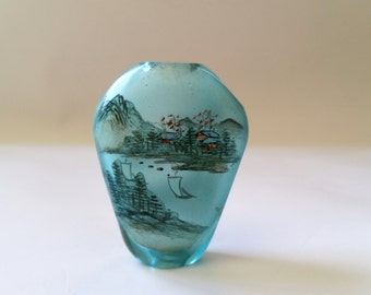 Large Antique Chinese Two Sided Reverse Painted Scene Aqua Blue Glass Bead Pendant