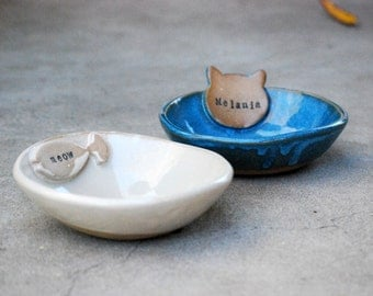 Personalized Cat Bowl, cat lover gift,  Named Pet Bowl, ceramic Pet Dish,dog bowl custom, Bowl With Name, Handmade Pet Bowl, Ceramic Pottery